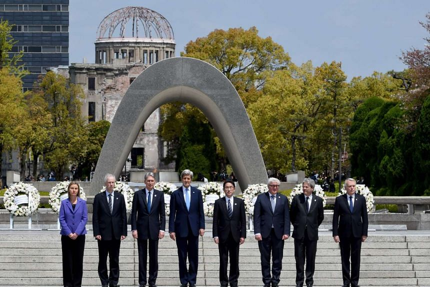 US State Secretary Kerry John Kerry (4th from left) and other G-7 foreign ministers made the landmark visit on Monday (April 11) to the memorial site for the world's first nuclear attack in Hiroshima.