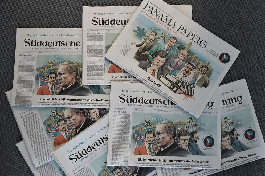 """Several issues of the German daily Sueddeutsche Zeitung dated April 4, 2016, titling on the so called """"Panama Papers""""."""
