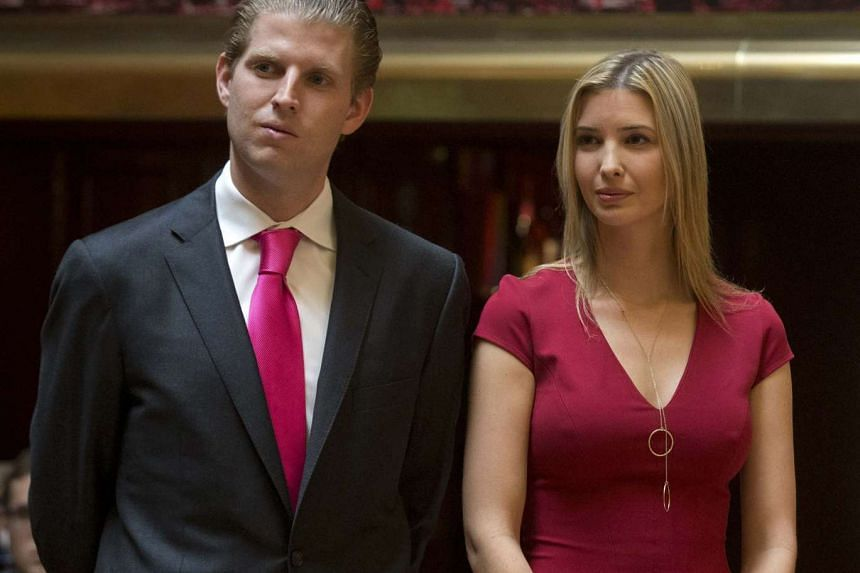 Mr Eric Trump and Ms Ivanka Trump attending a news conference in New York in 2014.
