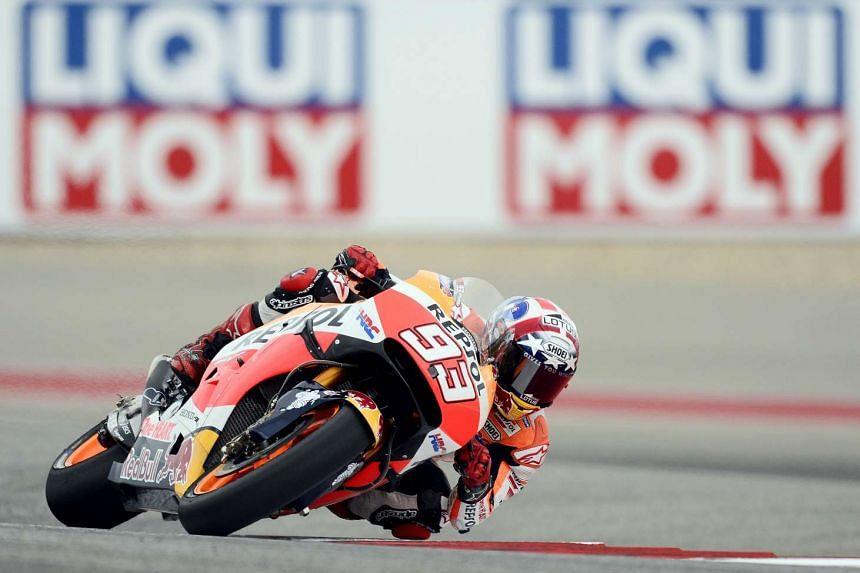 Spanish MotoGP rider Marc Marquez in action in Austin, Texas on Sunday.