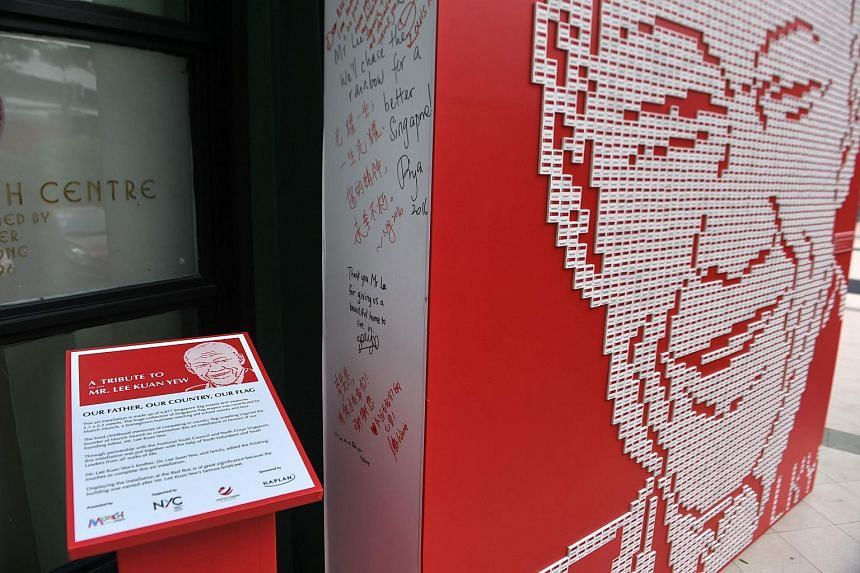 An art installation made up of erasers printed with the Singaporean national flag, put together to form an image of founding father Lee Kuan Yew, on March 22, 2016.