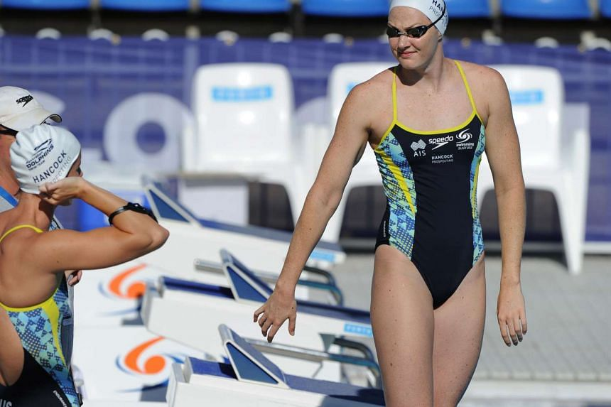 Australia's Cate Campbell prepare for a warm up prior to the start of the final day of the Aquatic Super Series in Perth on Feb 6, 2016.