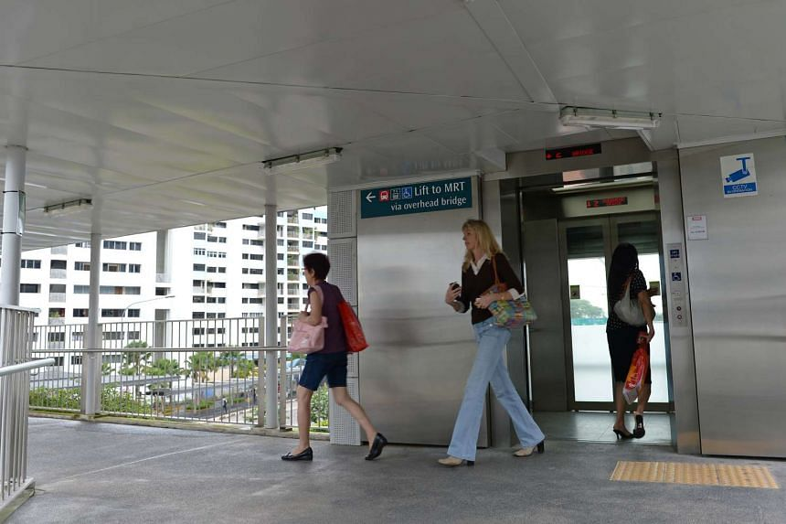 An overhead bridge with a lift linked to Farrer Road station, which facilitates movement for the elderly and disabled.