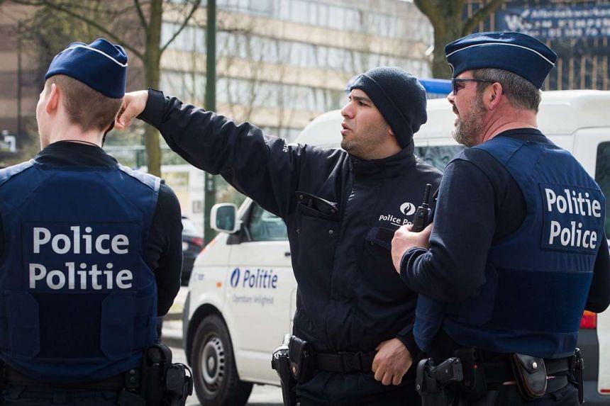 Belgian police during a raid in Etterbeek, Brussels, Belgium, on April 9, 2016.