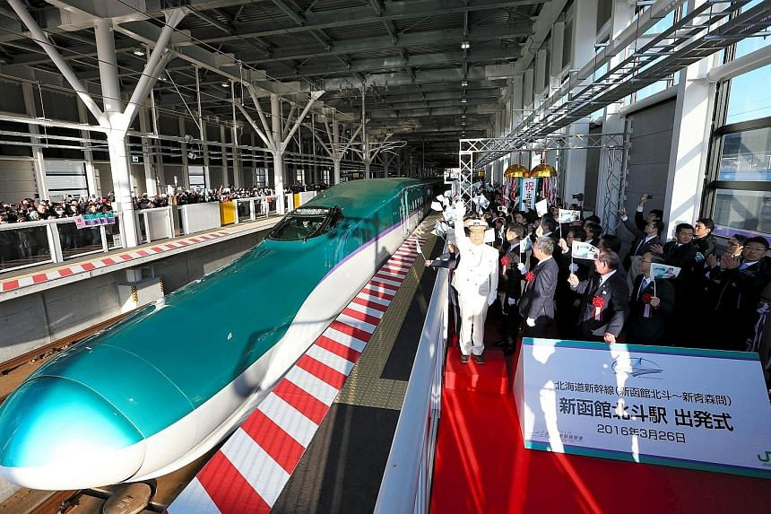 The first train on the new Shinkansen bullet train route linking Hokkaido and Tokyo leaving a station in Hokuto, Hokkaido, on March 26. Japan has long played a major role in the economic development of many South-east Asian nations.