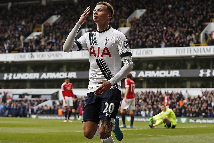Dele Alli celebrating after scoring Tottenham's first goal against Manchester United on Sunday at White Hart Lane. Spurs won 3-0 for their first home victory over United in the league since a 3-1 success in May 2001.