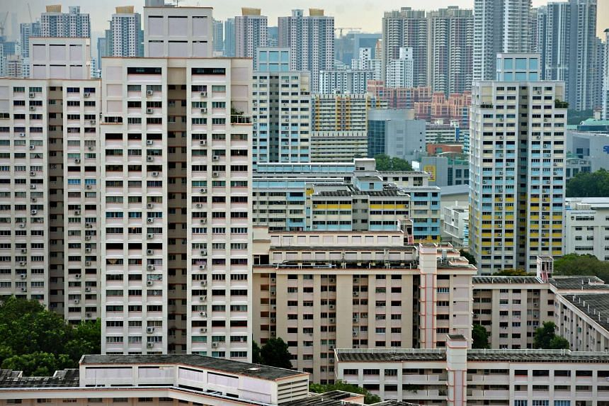 HDB flats in the Bishan estate (foreground) and Toa Payoh estate (background).