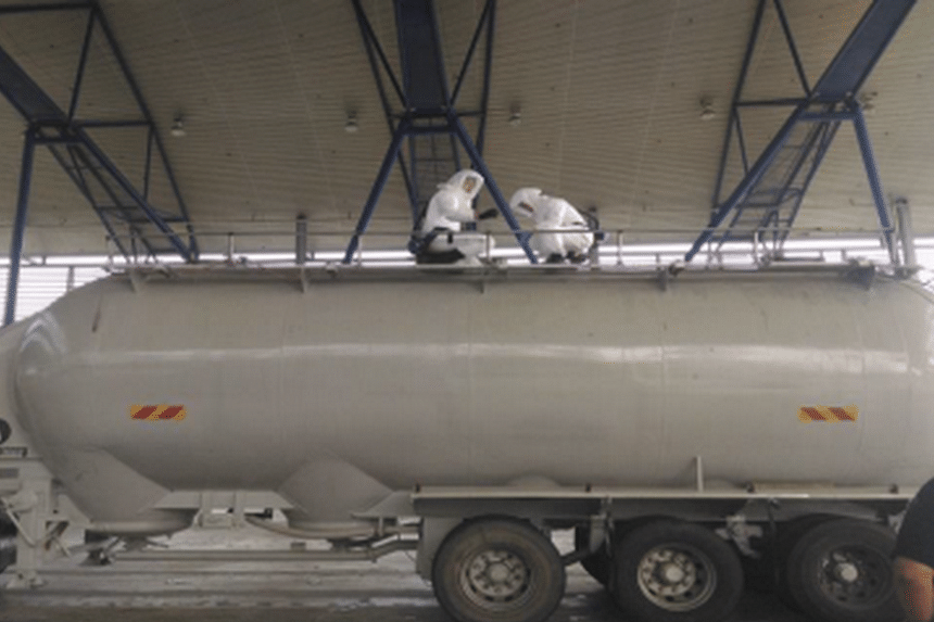 The cement bowser used to transport the contraband cigarettes on April 9, 2016.