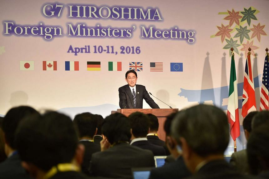 Japan's Foreign Minister Fumio Kishida speaks during the presidency press conference following the G7 Foreign Ministers' Meeting in Hiroshima, on April 11, 2016.