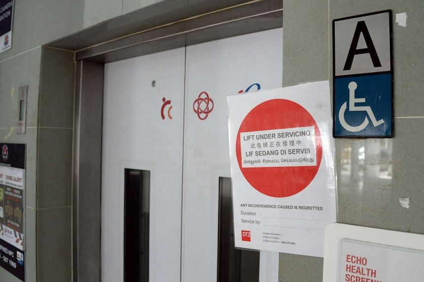 The lift with misaligned brakes at Block 164, Tampines Street 12.