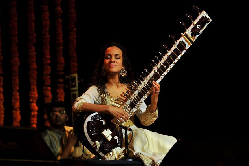 Anoushka Shankar performs during the Premaanjali Festival 2012, a musical concert held at the Palace Grounds in Bangalore, India.