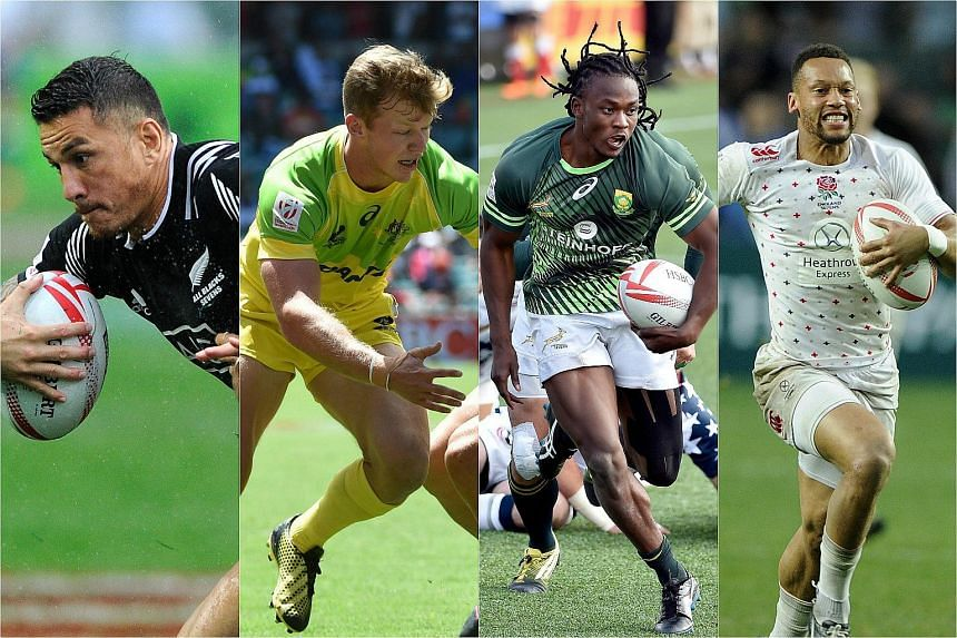 (From left)  Sonny Bill Williams, Cameron Clarke, Seabelo Senatla and Dan Norton will be in Singapore for the Singapore leg of the HSBC Sevens World Series.