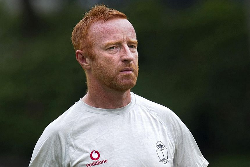Fiji's rugby sevens coach Ben Ryan conducts a training session in Hong Kong on April 4, 2016.