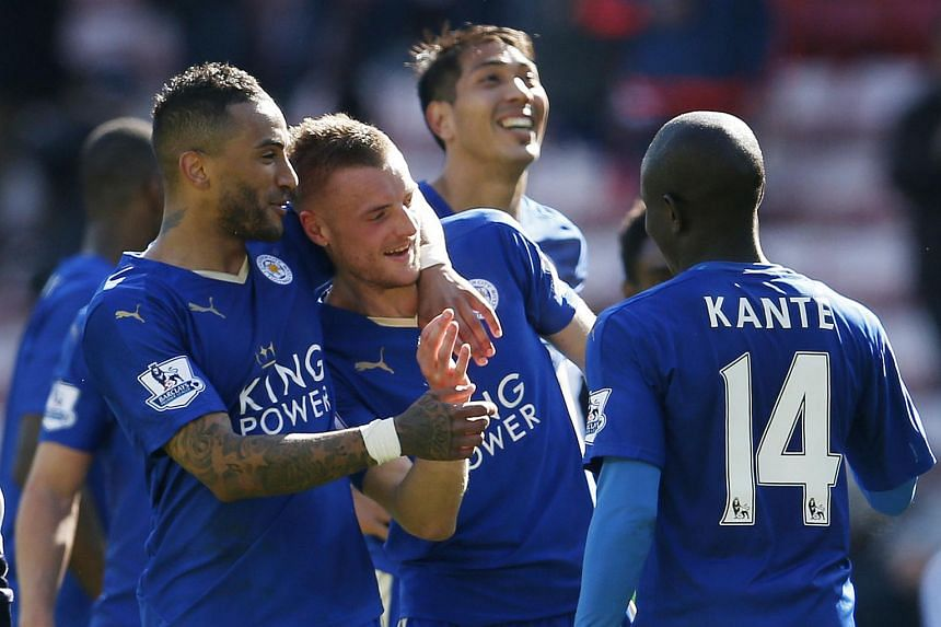 Leicester City players celebrating after defeating Sunderland in their EPL clash at the Stadium of Light on April 10, 2016.