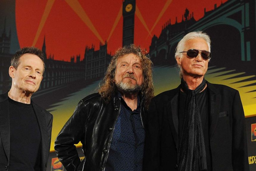 A file photo dated Sept 21, 2012 of members of British rock band Led- Zeppelin with (L-R) John Paul Jones, Robert Plant and Jimmy Page arriving for a press conference in London, Britain.