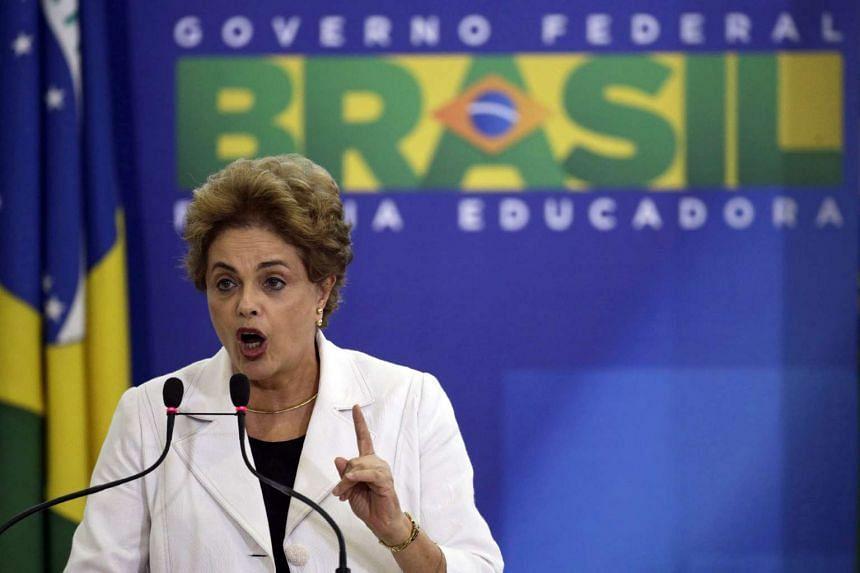 Brazilian President Dilma Rousseff speaks to students and teachers at Planalto Palace in Brasilia, Brazil, on April 12, 2016.
