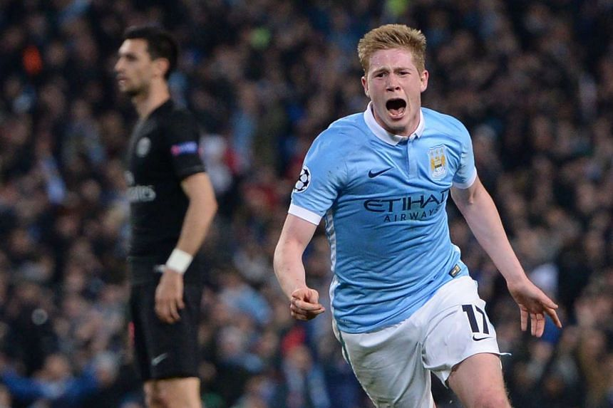 Manchester City's Kevin De Bruyne celebrating after scoring against Paris Saint-Germain at the Etihad Stadium on April 12, 2016.