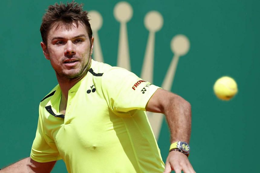 Stan Wawrinka hitting a return to Philipp Kohlschreiber at the Monte-Carlo Rolex Masters on April 13, 2016.