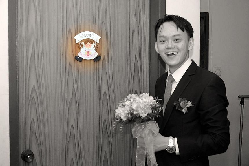(Above from left) Some of the photographs taken on the couple's wedding day include those shot at odd angles and processed with unusual colour filters. (Left) Ms Ying and Mr Tang are now talking to the bridal shop about compensation.