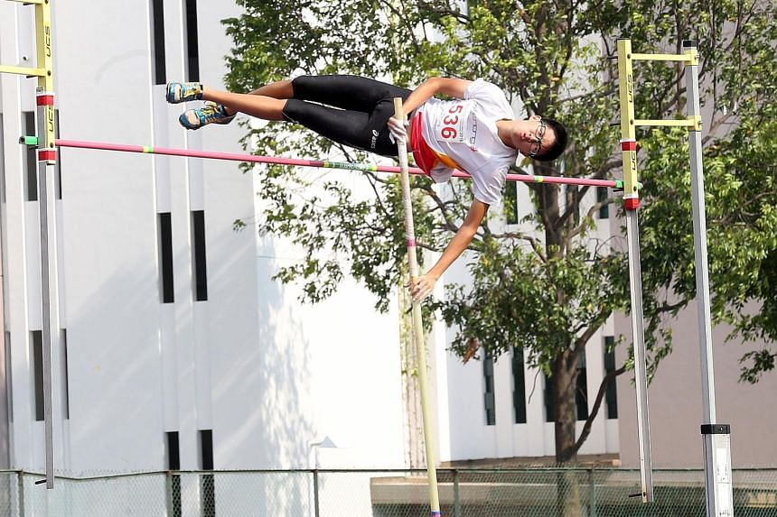 Hwa Chong Institution's Clevon Wong, 16, won the B division pole vault with a leap of 3.85m. In his last year competing in the category, he finally won his first schools national gold medal.