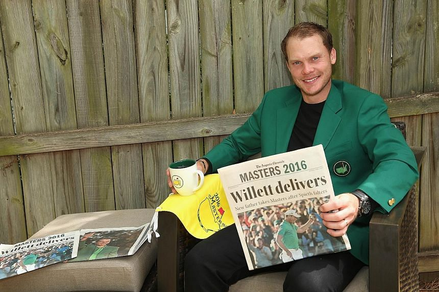 Danny Willett posing in his Green Jacket at his rented house in Augusta, Georgia, a day after winning the Masters on Sunday. He flew home to England to be with his wife Nicole and newborn son Zachariah instead of going on the usual champion's tour of
