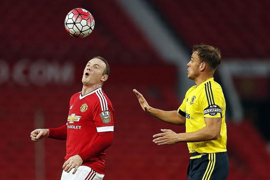 Wayne Rooney controlling the ball during United's 1-0 win over Middlesbrough in their English Under-21 Premier League game. He looked a little rusty but came through without any problems and is desperate for play time to strengthen his claim for a st
