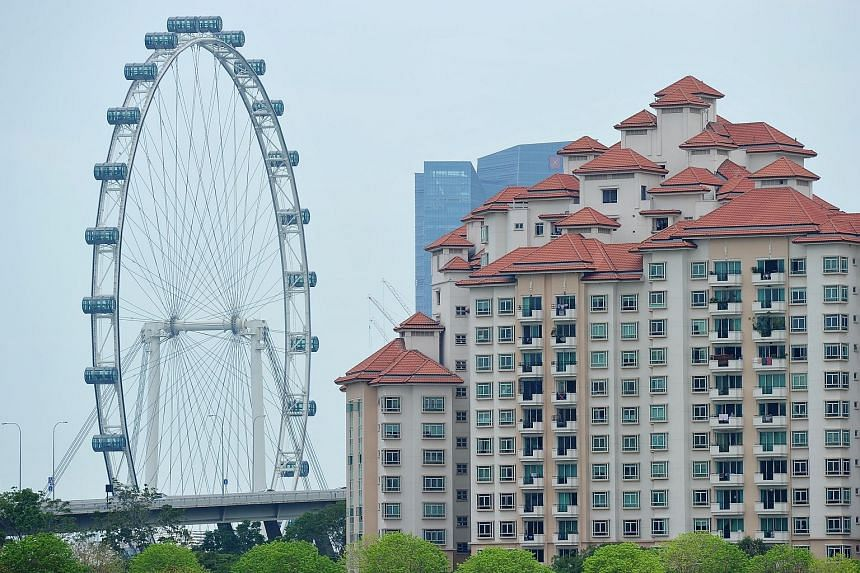 Costa Rhu Condominium in Tanjong Rhu, with the Singapore Flyer in the background. SRX data showed overall resale prices of non-landed private homes edged up by 0.3 per cent in March from February.