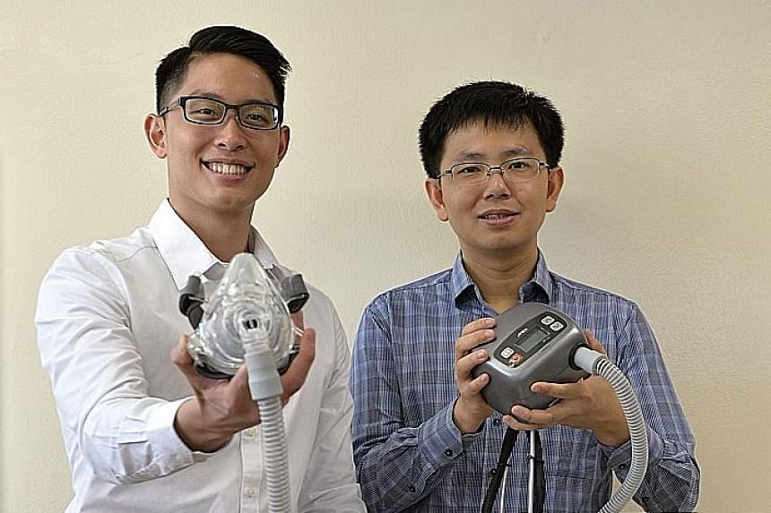 Mr Wanto (far left) and Mr Suriady, the founders of Inspirate Medical, with the mask they designed to help people cope with sleep apnoea. The customised product is undergoing clinical trials and they hope to start selling it by the end of the year.