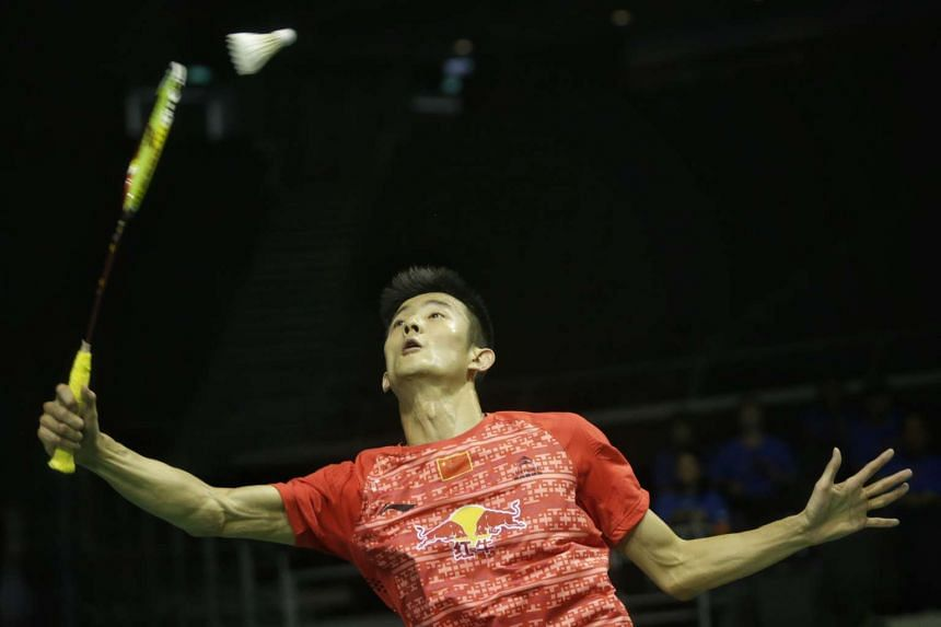 World number one Chen Long of China in action against India's H. S. Prannoy during the first round of OUE Singapore Open.