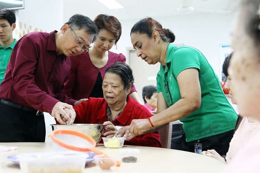 Health Minister Gan Kim Yong (left) at the opening of the Ren Ci nursing home at Bukit Batok Street 52 on Jan 22.