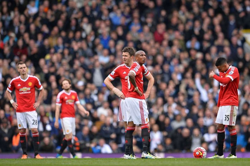 Manchester United players react during the game vs Tottenham Hotspur on April 10, 2016.