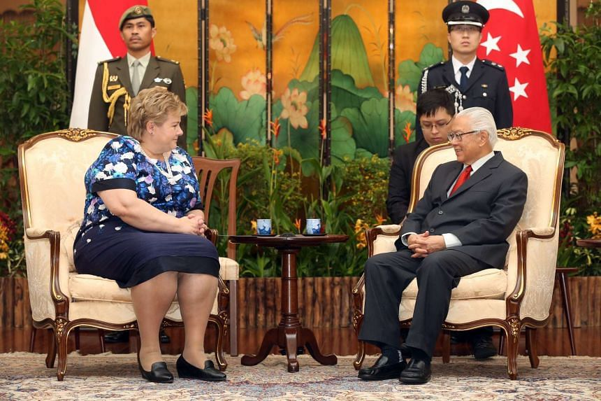 Norwegian Prime Minsiter Erna Solberg speaking with Singapore President Tony Tan Keng Yam at the Istana on April 13, 2016.