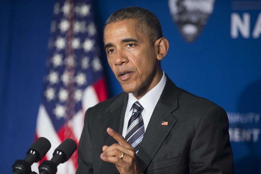 US President Barack Obama speaking at the Belmont-Paul Women's Equality National Monument in Washington, DC.