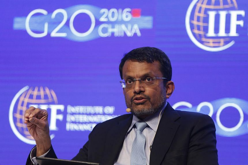 Ravi Menon, Managing Director of the Monetary Authority of Singapore, attends a conference during the 2016 IIF G20 Conference.