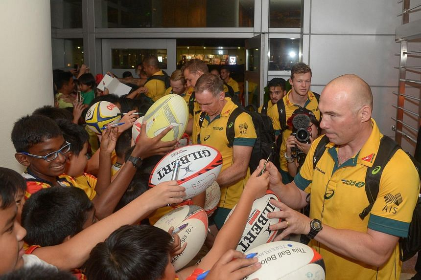 The Australian rugby team arriving at the Pan Pacific Hotel ahead of the Singapore Sevens on April 11.