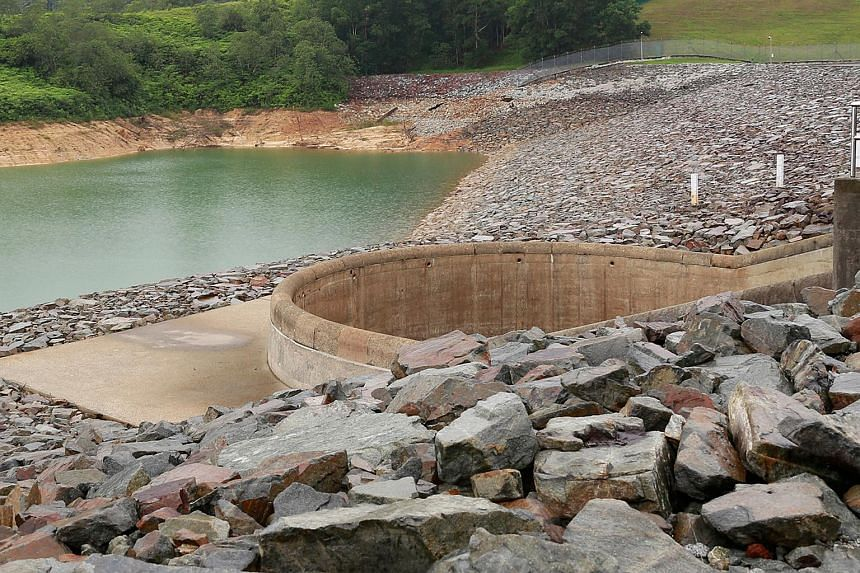 The water level in Johor's Linggiu Reservoir in August 2015.