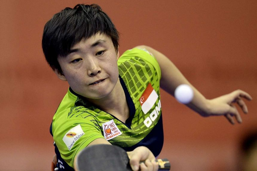 Singapore paddlers Feng Tianwei (above) and Chen Feng both qualified for the Rio Olympics.