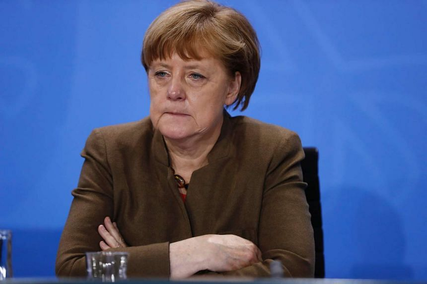 German Chancellor Angela Merkel gives a press conference on April 14, 2016, at the Chancellery in Berlin.