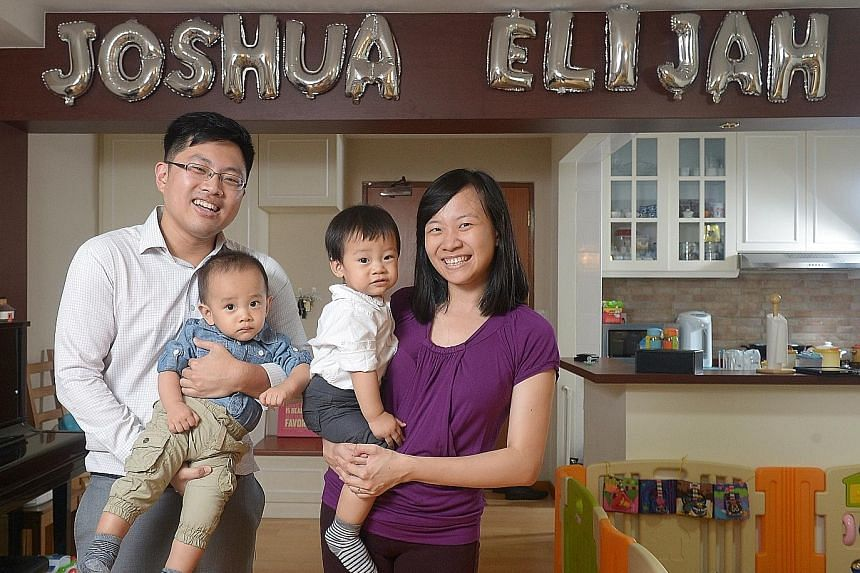 Ms Lee and Mr Tan became first-time parents of twins last March. Thanks to a supportive supervisor, Mr Tan was able to take a week of paternity leave and a week of Ms Lee's 16-week maternity leave under a scheme that lets her share the leave with him
