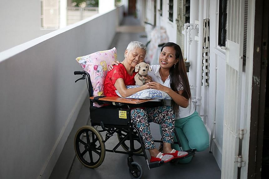 Ms Rusmini now knows the correct way to transfer Madam Lee from the bed to the chair and how to give her a shower and dress her, after attending a four-day training course on caring for the elderly that is administered by the Agency for Integrated Ca