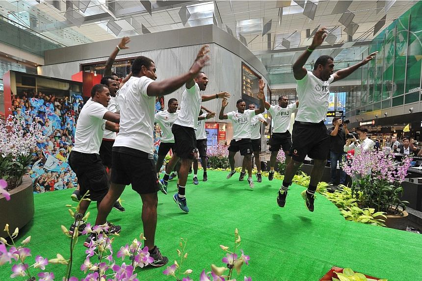 The Fiji Sevens team perform the Cibi, a traditional Fiji war dance, at Changi Airport. The Sevens World Series defending champions are hoping to triumph in the Singapore leg which is making its return to the sevens calendar after 10 years.