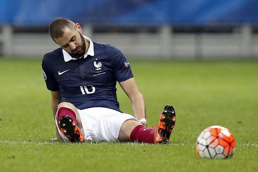 France's forward Karim Benzema reacts during the friendly football match between France and Armenia.