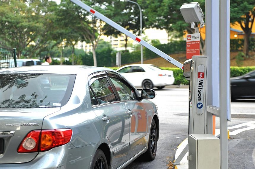 A car passing through an electronic parking system (EPS) gantry operated by Wilson Parking at Mapletree Toa Payoh North carpark.