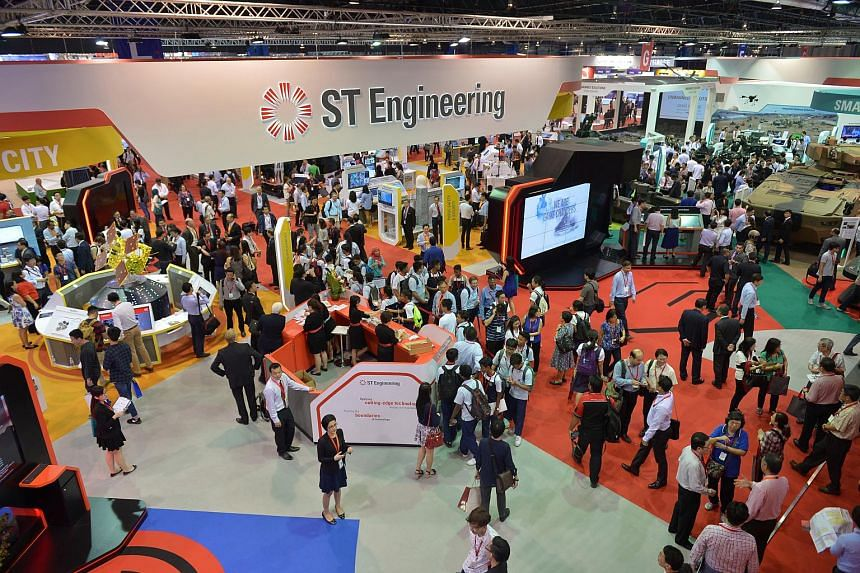 The ST Engineering pavilion at the indoor exhibition of the Singapore Airshow 2016.