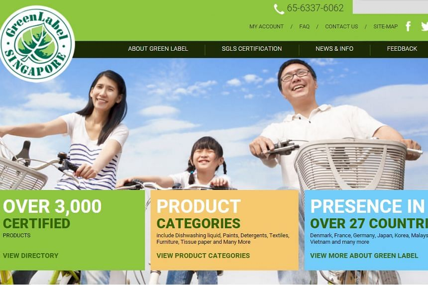 Screengrab of the Singapore Green Labelling Scheme website.