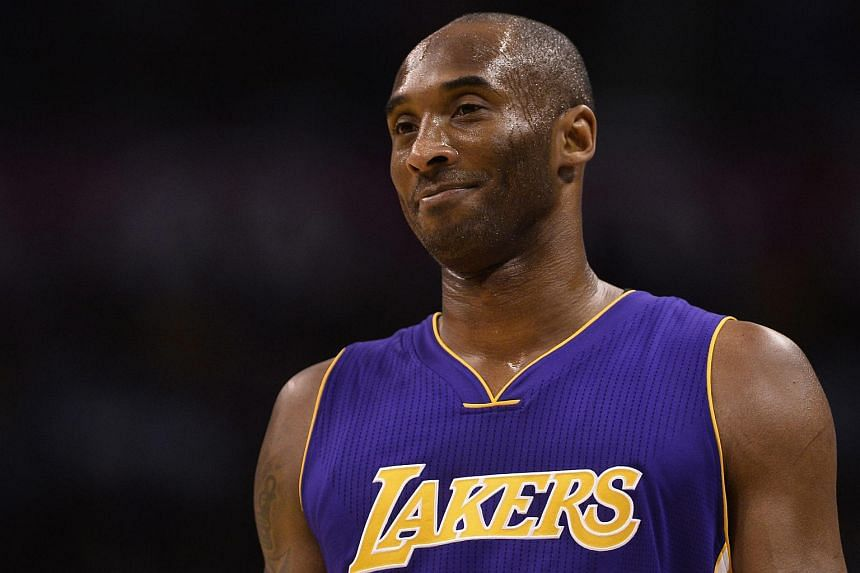 Los Angeles Lakers player Kobe Bryant waits on the court during a NBA basketball game between the Los Angeles Lakers and the Oklahoma City Thunder, on April 11, 2016.