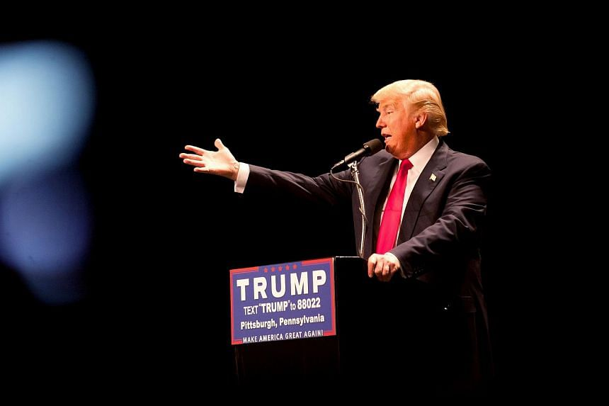 Republican presidential candidate Donald Trump speaks at a rally in Pennsylvania, on April 13, 2016.
