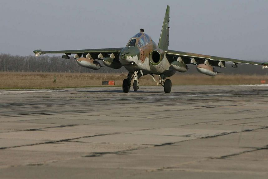 A Russian Su-25 ground attack aircraft lands at an airbase in the southern Russia's Krasnodar region last month as part of the withdrawal of Russian armed forces from Syria.