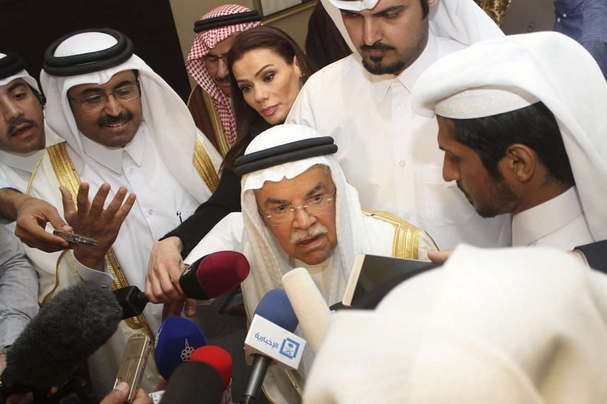 Saudi Arabia's Oil Minister al-Naimi speaks to the media following a meeting with Qatar's Energy Minister al-Sada, Russia's Energy Minister Novak, and Venezuela's Oil Minister del Pino in Doha, on Feb 16, 2016.