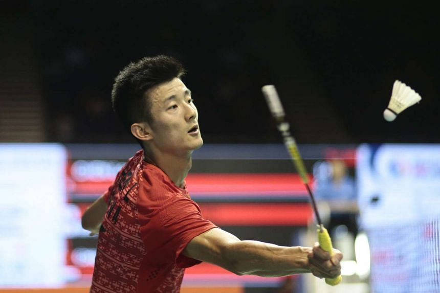 Chen Long of China during the men's singles quarter-final match of the OUE Singapore Open badminton tournament on April 15, 2016.